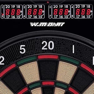 """Do not stop playing to keep scores, all you need is to enjoy the game with one clear, large LED display. WIN.MAX dartboard is equipped with LED display to provide real score and fair play. View up to 4 players' scores simultaneously using """"PLAYER/PAGE"""" button on this extra large LED display."""