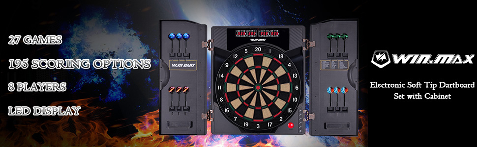 electronic soft tip dartboard set with cabinet,winmax
